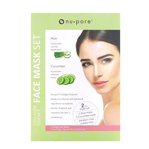Юнайтэд Эксчэндж, Collagen Essence Face Mask Set, Aloe & Cucumber, 2 Single-Use Masks, 0.85 fl oz (25 g) Each отзывы покупателей