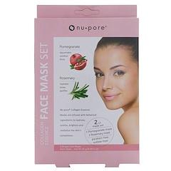 Nu-Pore, Collagen Essence Face Mask Set, Pomegranate & Rosemary, 2 Single-Use Masks, 0.85 fl oz (25 g) Each