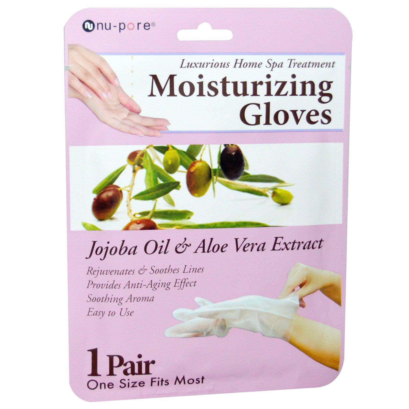 Nu-Pore, Увлажняющие перчатки с маслом жожоба и экстрактом алоэ вера, 1 пара
