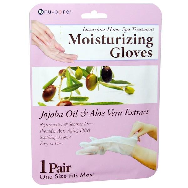 Nu-Pore, 保濕手套,荷荷巴油和蘆薈提取物,1對