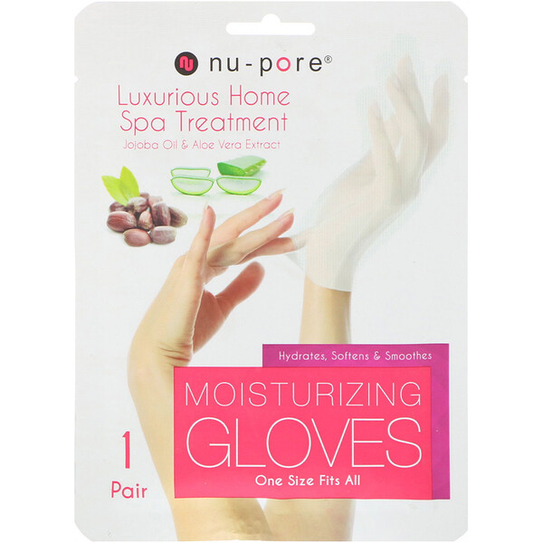 Moisturizing Gloves, Jojoba Oil & Aloe Vera Extract, 1 Pair