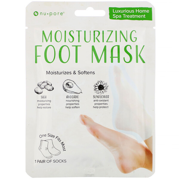 Nu-Pore, Moisturizing Foot Mask, 1 Pair