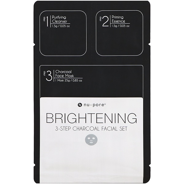 Nu-Pore, Brightening 3-Step Charcoal Facial Set, 1 Pack (Discontinued Item)