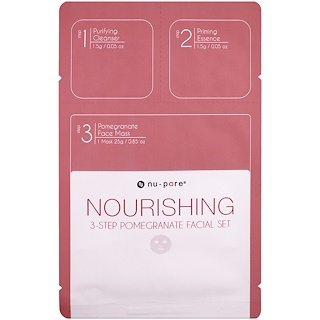 Nu-Pore, Nourishing 3-Step Pomegranate Facial Set, 1 Pack