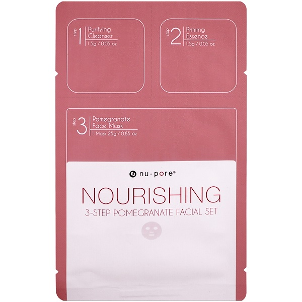 Nu-Pore, Nourishing 3-Step Pomegranate Facial Set, 1 Pack (Discontinued Item)