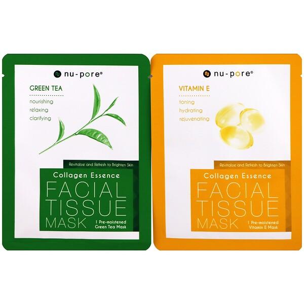 Nu-Pore, Collagen Essence Face Mask Set, Vitamin E & Green Tea, 2 Single-Use Masks, 0.85 fl oz (25 g) Each (Discontinued Item)