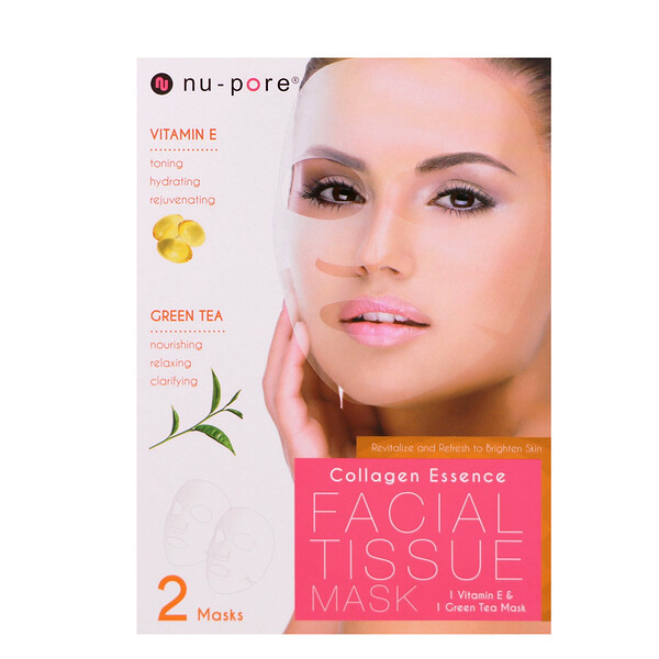 Nu-Pore, Collagen Essence Face Mask Set, Vitamin E & Green Tea, 2 Single-Use Masks, 0.85 fl oz (25 g) Each