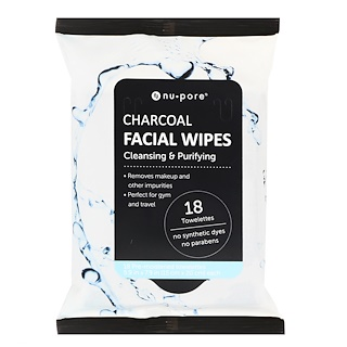 Nu-Pore, Charcoal Facial Wipes, 18 Pre-Moistened Towelettes