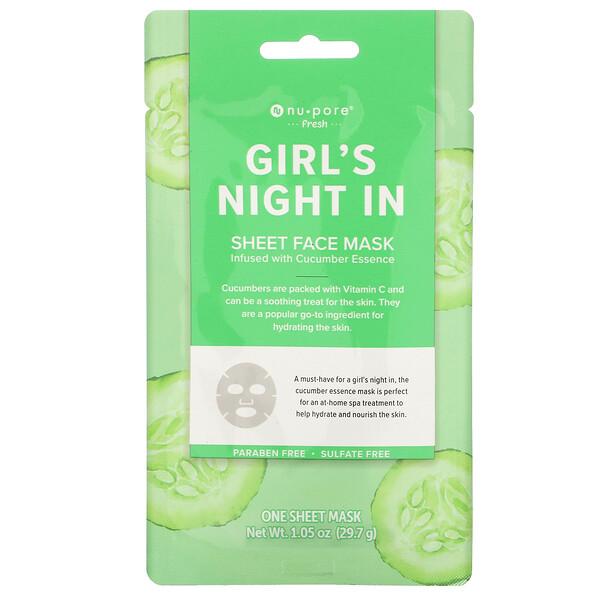 Girl's Night In Sheet Beauty Face Mask, Cucumber, 1 Sheet, 1.05 oz (29.7 g)