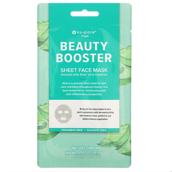 Nu-Pore, Beauty Booster Sheet Mask, Aloe Vera, 1 Sheet