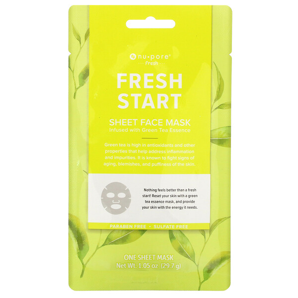 Fresh Start Sheet Beauty Face Mask, Green Tea, 1 Sheet, 1.05 oz (29.7 g)
