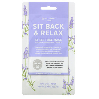 Nu-Pore, Sit Back & Relax, успокаивающая тканевая маска для лица, лаванда, 1шт., 29,7г (1,05унции)