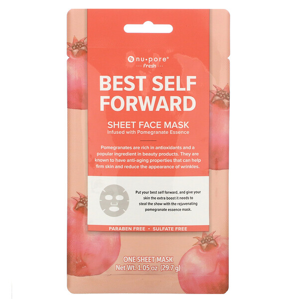 Best Self Forward Sheet Face Mask, Pomegranate, 1 Sheet, 1.05 oz (29.7 g)