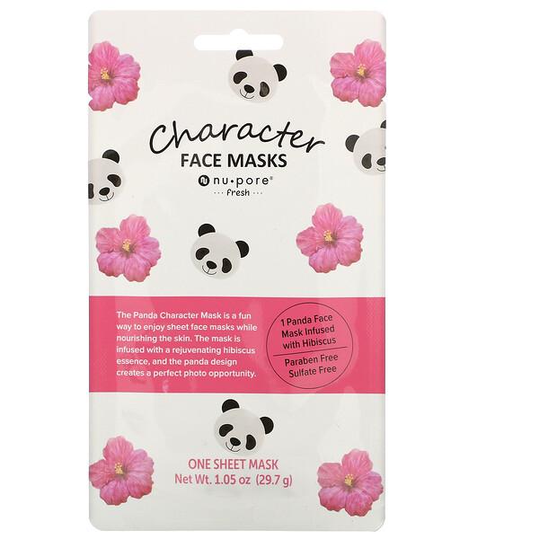 Character Face Mask, Panda, Hibiscus, 1 Sheet, 1.05 oz (29.7 g)