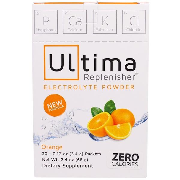 Ultima Replenisher, Ultima Replenisher Electrolyte Powder, Orange, 20 Packets, 0.12 oz (3.4 g) Each (Discontinued Item)