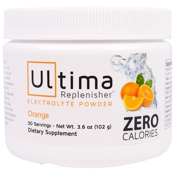 Ultima Replenisher, Ultima Replenisher Electrolyte Powder, Orange, 3.6 oz (102 g) (Discontinued Item)