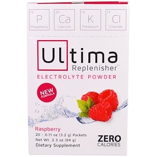 Ultima Health Products, Ultima Replenisher Electrolyte Powder, Raspberry, 20 Packets, 0.11 oz (3.2 g) Each