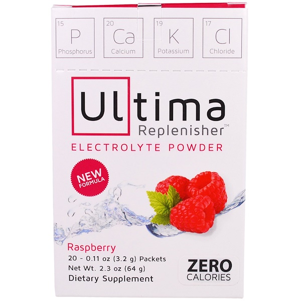 Ultima Replenisher, Electrolyte Powder, Raspberry, 20 Packets, 0.11 oz (3.2 g) Each
