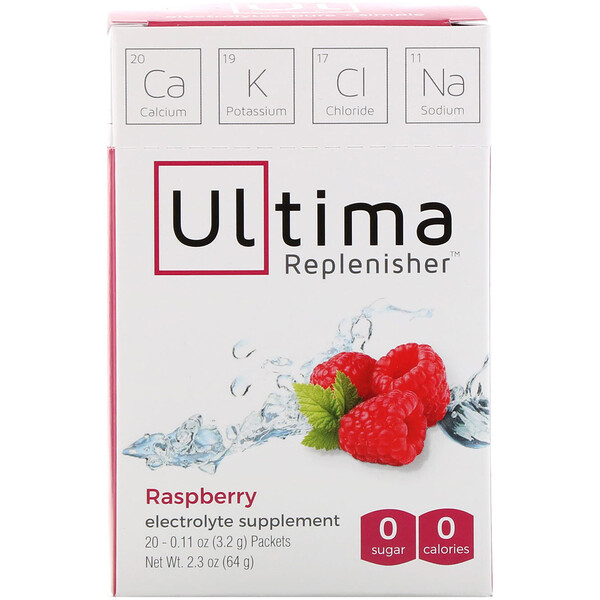 Electrolyte Supplement, Raspberry, 20 Packets, 0.11 oz (3.2 g) Each