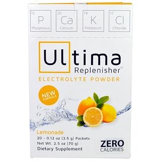 Ultima Health Products, アルティマ補充電解液パウダー、レモネード、20袋、0.12オンス(3.5g)