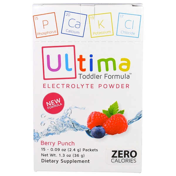 Ultima Replenisher, Ultima Toddler Formula Electrolyte Powder, Berry Punch, 15 Packets, 0.09 oz (2.4 g) Packets (Discontinued Item)