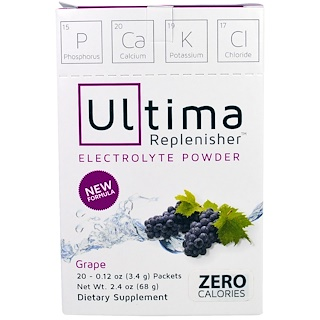 Ultima Health Products, Ultima Replenisher Electrolye Powder, Grape, 20 Packets, 0.12 oz (3.4 g)