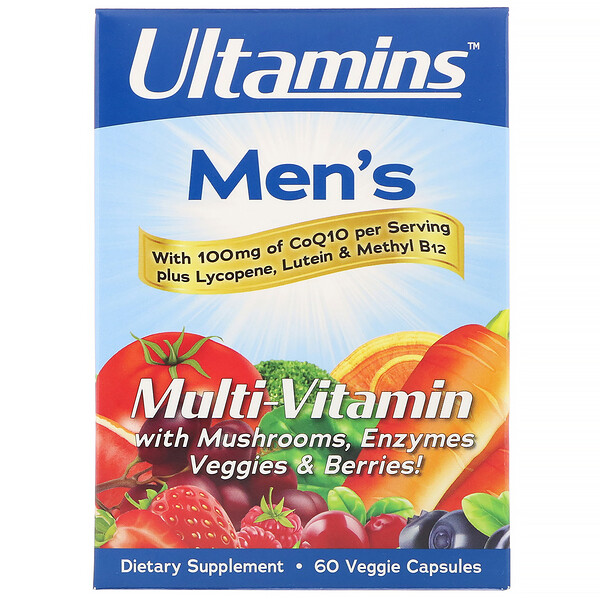 Men's Multi-Vitamin with CoQ10, Mushrooms, Enzymes, Veggies & Berries, 60 Veggie Capsules