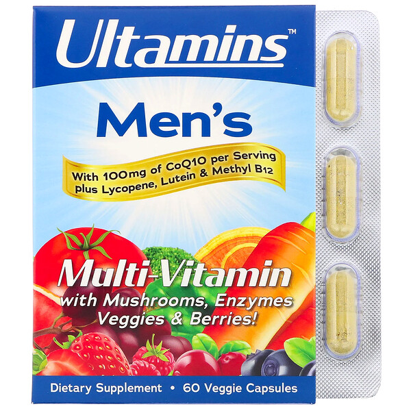 Ultamins, Men's Multivitamin with CoQ10, Mushrooms, Enzymes, Veggies & Berries, 60 Veggie Capsules