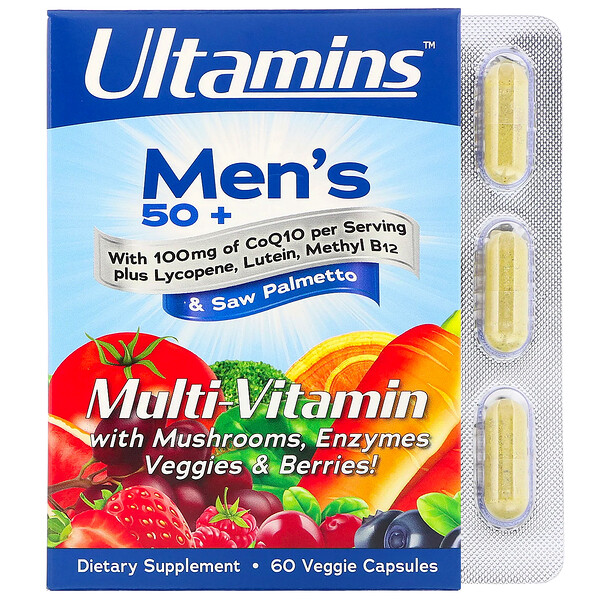 Ultamins, Men's 50+ Multi-Vitamin with CoQ10, Mushrooms, Enzymes, Veggies & Berries, 60 Veggie Capsules