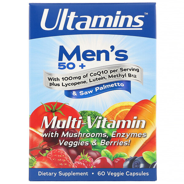 vitamins for men : Ultamins, Men's 50+ Multi-Vitamin with CoQ10, Mushrooms, Enzymes, Veggies & Berries, 60 Veggie Capsules