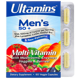 Ultamins, Men's 50+ Multivitamin with CoQ10, Mushrooms, Enzymes, Veggies & Berries, 60 Veggie Capsules отзывы
