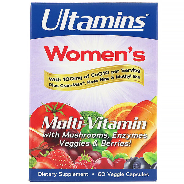 Women's Multi-Vitamin with CoQ10, Mushrooms, Enzymes, Veggies & Berries, 60 Veggie Capsules