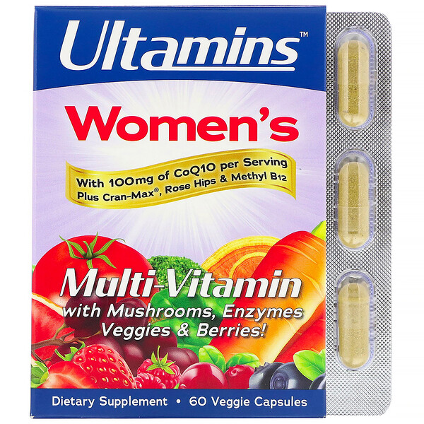 Ultamins, Women's Multi-Vitamin with CoQ10, Mushrooms, Enzymes, Veggies & Berries, 60 Veggie Capsules