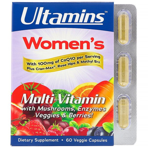 Ultamins, Women's Multivitamin with CoQ10, Mushrooms, Enzymes, Veggies & Berries, 60 Veggie Capsules