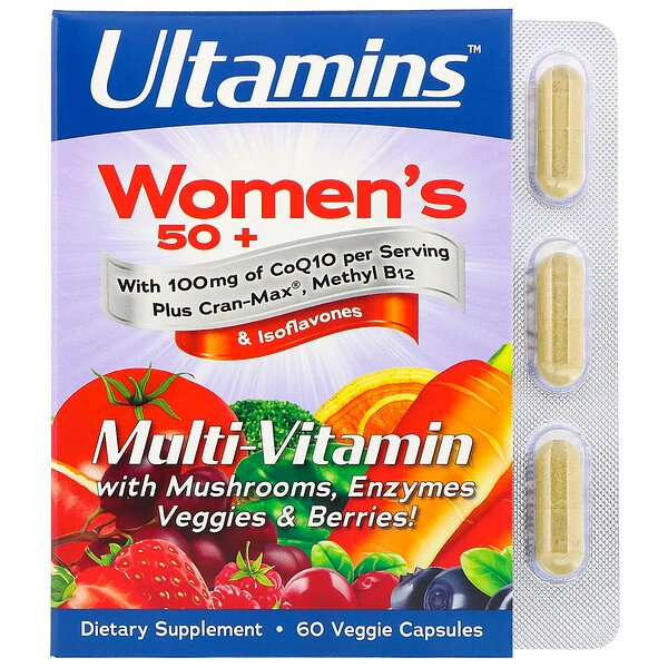 Ultamins, Women's 50+ Multi-Vitamin with CoQ10, Mushrooms, Enzymes, Veggies & Berries, 60 Veggie Capsules