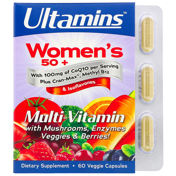 Women's 50+ Multi-Vitamin with CoQ10, Mushrooms, Enzymes, Veggies & Berries, 60 Veggie Capsules