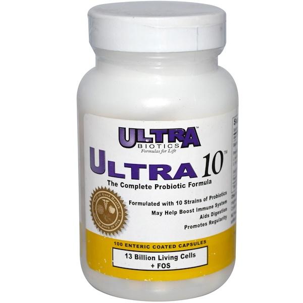 UltraBiotics, Ultra 10, The Complete Probiotic Formula, 100 Enteric Coated Capsules (Discontinued Item)
