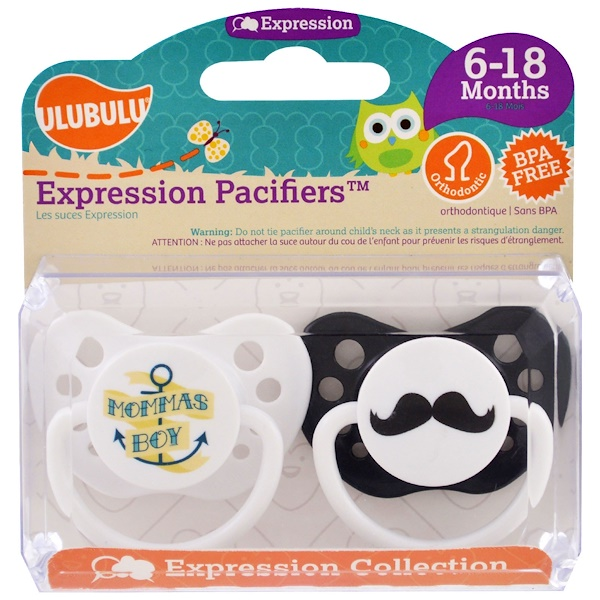 Ulubulu, Expression Pacifiers, Momma's Boy, Mustache, 6-18 Months , 2 Pacifiers (Discontinued Item)