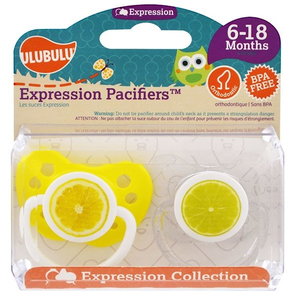 Ulubulu, Expression Pacifiers, 6-18 Months, Lemon & Lime, 2 Pacifiers (Discontinued Item)