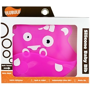 Улубулу, Silicone Baby Bib, Pink Hippo, 1 Piece отзывы