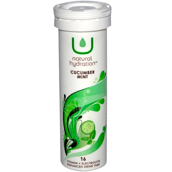 U Natural Hydration, Vitamin + Electrolyte Enhanced Drink Tabs, Cucumber Mint, 16 Tablets (Discontinued Item)
