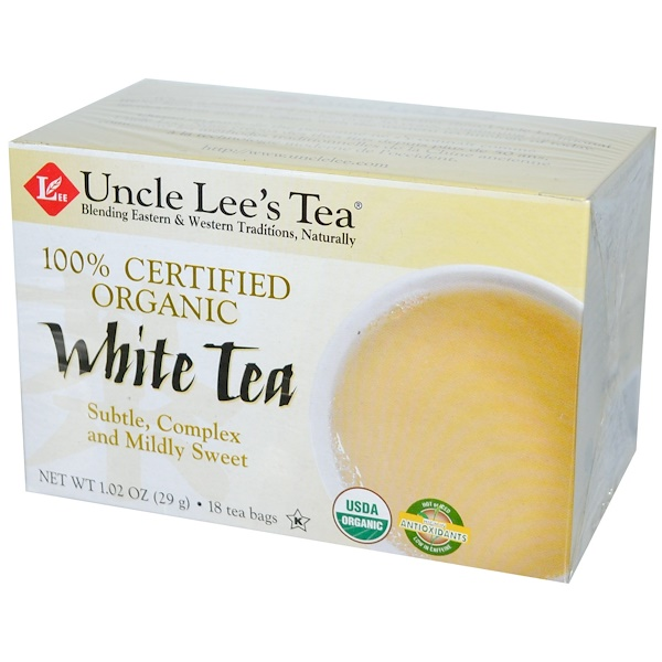Uncle Lee's Tea, 100% Certified Organic, White Tea, 18 Tea Bags, 1.02 oz (29 g) (Discontinued Item)