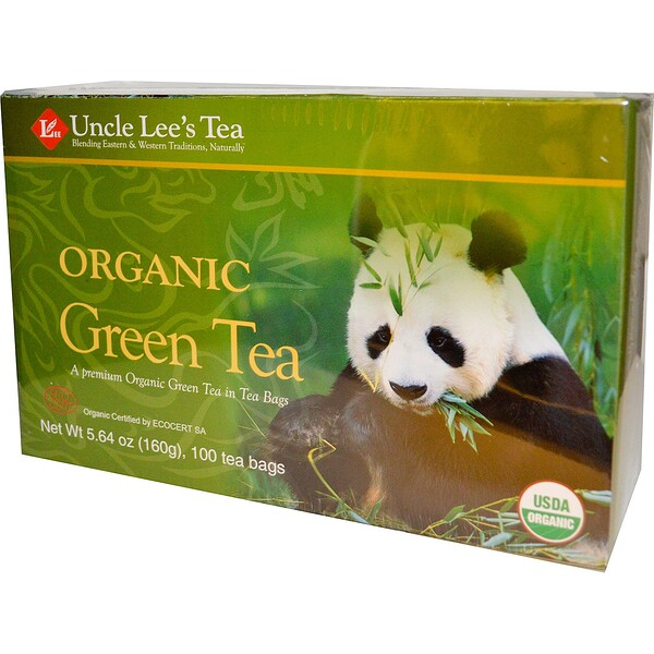 Uncle Lee's Tea, Organic Green Tea, 100 Tea Bags, 5.64 oz (160 g)