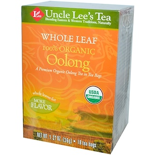 Uncle Lee's Tea, 100% Organic Oolong Tea, Whole Leaf, 18 Tea Bags, 1.27 oz (36 g)