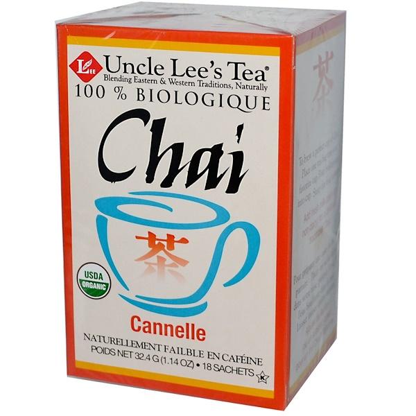 Uncle Lee's Tea, 100% Organic Chai, Cinnamon, 18 Tea Bags, 1.14 oz (32.4 g) Each (Discontinued Item)