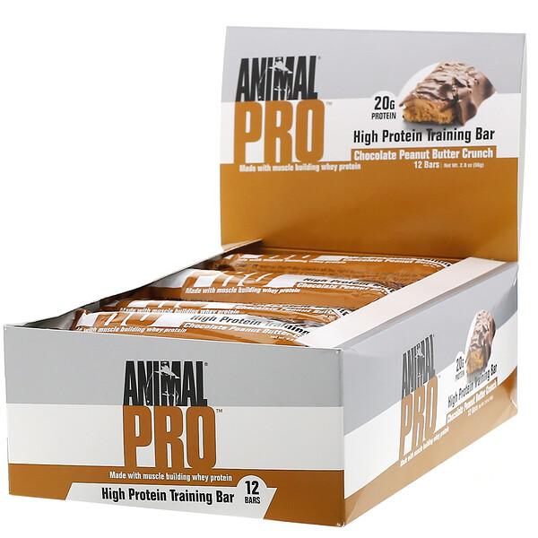 AnimalPro, Barrita para entrenamiento alta en proteínas, Chocolate y mantequilla de maní crujiente, 12 barritas, 56g (2,0oz)