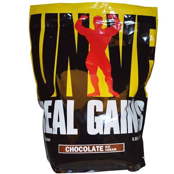 Universal Nutrition, Real Gains, Weight Gainer, Chocolate Ice Cream, 6.85 lb (3.11 kg)  (Discontinued Item)