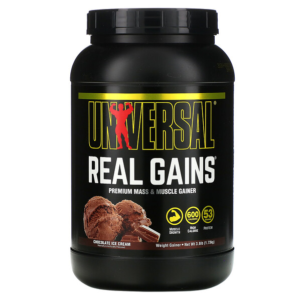 Real Gains, Weight Gainer, Chocolate Ice Cream, 3.8 lb (1.73 kg)
