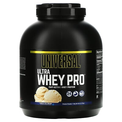 Universal Nutrition Ultra Whey Pro, протеиновый порошок со вкусом ванильного мороженого, 2,27 кг (5 фунтов)