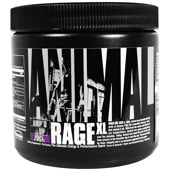 Universal Nutrition, Animal Rage XL, Amp'd Up, Grape of Wrath, 154 g